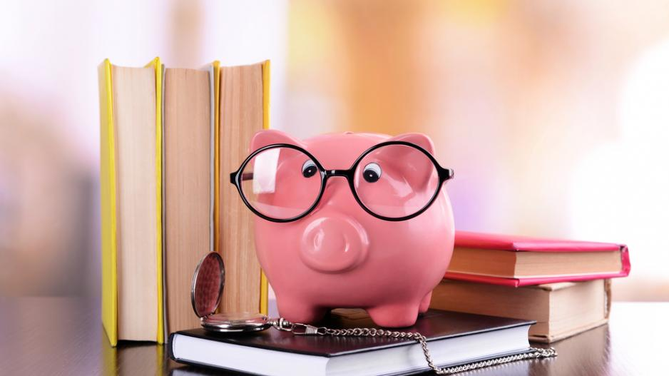 Piggy bank in glasses with books